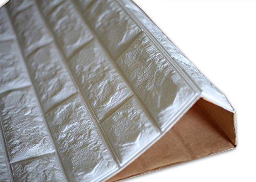 SOOMJ ブリック タイル レンガ 壁紙シール 70cm×77cm ブリックステッカー 軽量レンガシール 壁紙シール アクセントクロス ウォールシール はがせる 壁シール (お得45枚セット, (厚い)ホワイト)