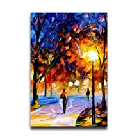 """水彩風景Artistic装飾油彩画自然景色美しいLeaves Night View Rainyデコレーションクリエイティブアートデザイン壁装飾カスタムポスター16"""" x 24"""""""