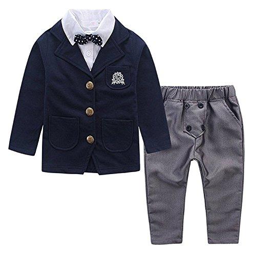 Emfay 男の子フォーマル 子供スーツ タキシード 上下セット 3点セット 入学式 入園式 七五三 結婚式 (90cm)
