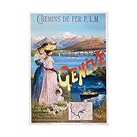 Travel Ad Vintage D'alesi Plm Railway Company Geneva Wall Art Print 旅行ビンテージ鉄道壁
