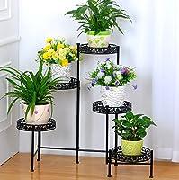 アイアンアートフラワーラック室内・屋外植物棚バルコニーリビングルームフラワーポットディスプレイスタンド ( 色 : ブラック )
