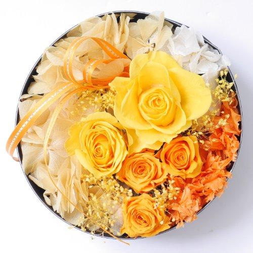 プリザーブドフラワー・BOXアレンジメント・サークル・イエロー×オレンジ【プリザーブドフラワー・誕生日・記念日・御祝・母の日など】