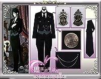 即納! 女性Mサイズ セバスチャン・ミカエリス 悪魔 黒執事 制服 衣装飾り手袋付 コスプレ衣装