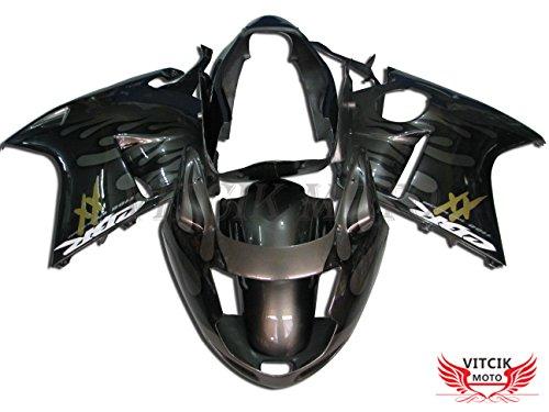 VITCIK (フェアリングキット 対応車種 ホンダ Honda CBR1100XX F5 1996 - 2007 CBR1100 XX F5 96 - 07) プラスチックABS射出成型 完全なオートバイ車体 アフターマーケット車体フレーム 外装パーツセット(グレー & シルバー) A019