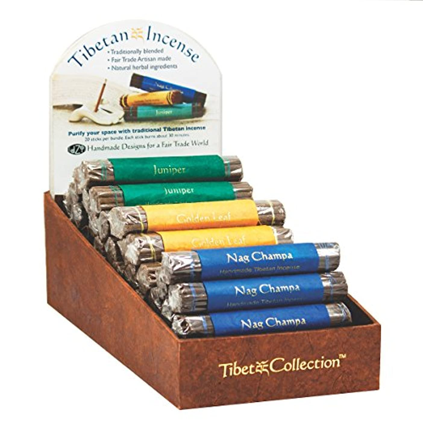 部分犯罪インストラクターFair Trade Organic Incense Bundle of 19 Sticks - Golden Leaf by dzi