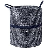 ストレージバスケットハンパー仕上げ汚い服おもちゃのスナックボックスシンプルな綿織物ネイビー (サイズ さいず : A)