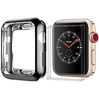 BRG コンパチブル apple watch ケース/apple watch カバー,apple watch フィルム x3枚と組み合わせ 耐衝撃性 HD画面保護 メッキTPU製 アップルウォッチ ケース/アップルウォッチ カバーとアップルウォッチ フィルム series 3/2/1 全モデル対応(42mm,ブラック)