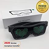 Customizable Bluetooth LED Glasses for Raves, Festivals, Fun, Parties, Sports, Costumes, Flashing - Display Messages, Animation, Drawings on Our App !