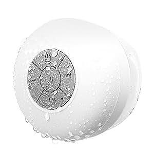 Ewin® 吸盤式bluetoothスピーカー ワイヤレススピーカー マイク搭載防水仕様 室内、室外兼用、お風呂用【1年間安心保証】 (IPX4防水スピーカー, ホワイト)
