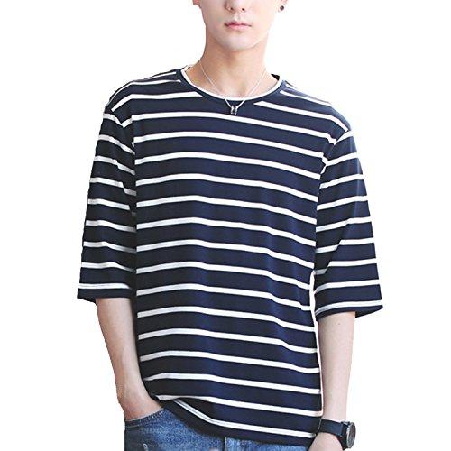 Tシャツ 夏服 メンズ 七分袖 五分袖 ストライプ 夏 Tシャツ 夏季対応 おしゃれ