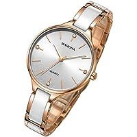 MAMONA Women's Quartz Simple Dress White and Rose Gold Watch Ceramic Ultra Thin L3877RG
