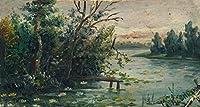 Mikhail Nesterov ジクレープリント キャンバス 印刷 複製画 絵画 ポスター(湖岸の風景)ビッグサイズ 99.1 x 53cm