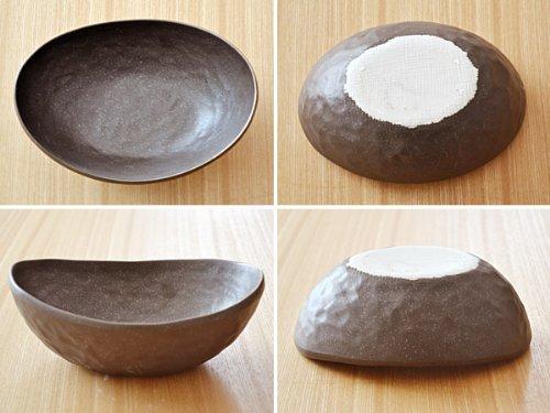 テーブルウェアイースト 和の楕円鉢(黒いぶし)