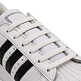 Hitstar 靴紐 結ばない ゴム 靴ひも シリコン シューレース 伸縮性 ほどけない スニーカー紐 ホワイト