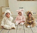 JUST clothing 赤ちゃん 子供 コスプレ 動物シリーズ 着ぐるみ 防寒 ロンパース パジャマ カバーオール ベビー (M, ピンク)
