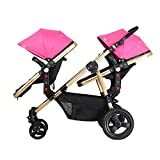 Nice Days(ナイス ディズ)  新生児から使える 2人乗り ベビーカー 縦型 物置袋付き 折りたたみ式 ソフト 安全 防水 紫外線防止 (ピンク)
