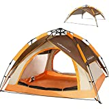 ZOMAKE Automatic Camping Tent 2 3 Person - Portable Dome Quick Up Tent (Brown)