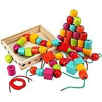 Lewo木製ジャンボLacing Beadsシェイプソーターモンテッソーリ教育玩具30個with 2 Laces