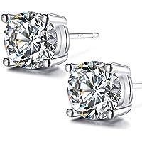 925 Sterling Silver Stud Earrings, 5mm Round Clear Cubic Zirconia Stud Earring For women girls men gift