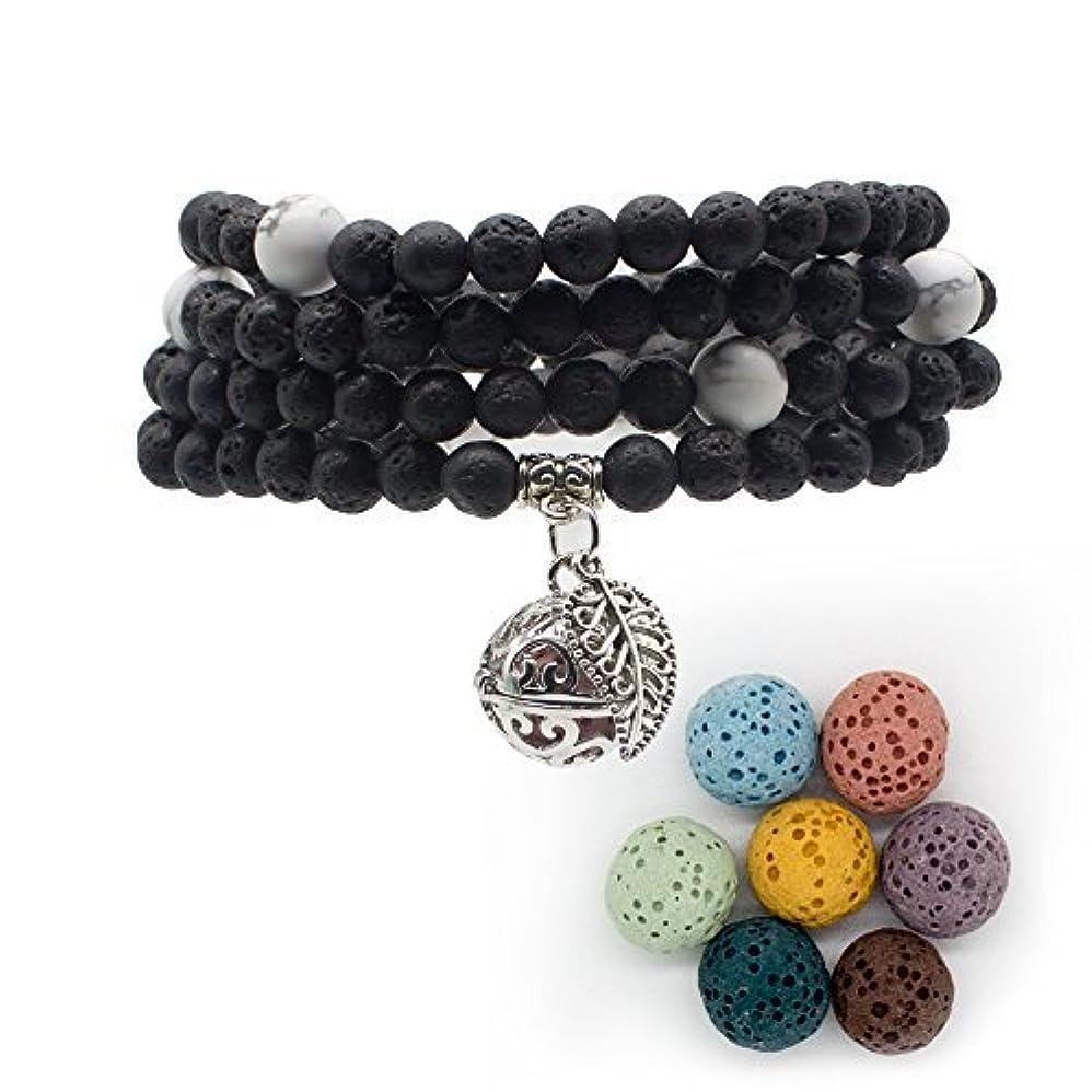 bivei Lava Stone Diffuserブレスレット – 108 Buddhist Mala祈りビーズロケットペンダントネックレス – 瞑想、クリスタルHealing