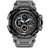 メンズデジタルWatches withラバーバンドアウトドアスポーツMilitary Watch電子with Rubber Band LED Watch Men's Standard グレー