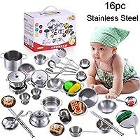 Sannysis Kids Play Houseキッチンおもちゃ調理用品調理器具ポットパンギフト 26mm * 455mm * 345mm シルバー SANNYSIS_Y929