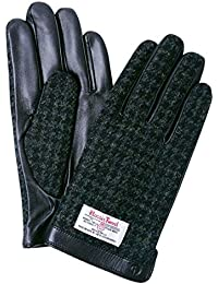 iTouch Gloves ハリスツイード スマホ手袋 手袋 メンズ レディース レザー / 千鳥格子 / ブラック / L