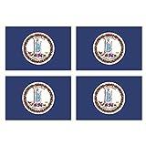 KIWISTAR 4,5 x 3 cm ステッカー - Virginia Richmond バージニアリッチモンド 4ピース国家バンパーステッカー国旗紋章旗ステッカーラ..