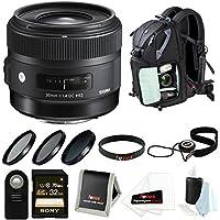 シグマ30mm f / 1.4アートレンズfor Nikon withバックパックアクセサリーバンドル