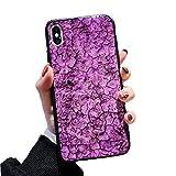 SevenPandaダイヤモンドキックスタンド シェル大理石 設計 場合 iPhone 7の場合エポキシ 技術 ゴールドホイル大理石贅沢ピカピカ 設計 カバーと結晶 ストラップ 女の子と女性のためのiPhone 7 / iPhone 8ケース用 - 紫の