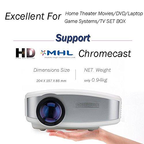 CHEERLUX ミニプロジェクター HD LEDホームシアターシネマ 映画 ビデオ テレビ ゲーム MHL Ipad と Iphone 6 6s サポート chromecast (ホワイト)
