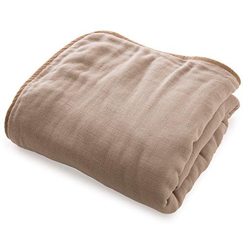 mofua (モフア) ひざ掛け ハーフケット 綿100% 日本製 6重ガーゼ 三河木綿 洗うたびにふっくら マルチ(ハーフサイズ 140×100cm) グレージュ 33001456