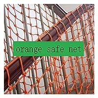チャイルドセーフティネット階段保護ネットバルコニー手織りネット壁装飾ネット猫ネット落下防止ネットフェンス12cmメッシュ6mmロープオレンジ (Size : 4x3m)