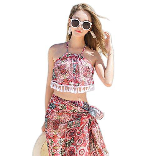 [해외]LOVETIARA 수영복 여성 비키니 체형 커버 2018 봄 여름 3 종 세트 에스닉 페이즐리 프린트 넥 비키니 × 쉬폰 사롱 세트 [2 컬러 M ~ XL 사이즈]/LOVETIARA Women`s Bikini Body Cover 2018 Spring | Summer 3 Piece Set Ethnic Paisley Print High ...