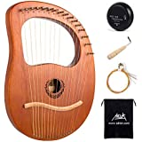 Lyre Harp, AKLOT 16 Metal Strings Maple Saddle Mahogany Body Lyra Harp with Carved Note Tuning Wrench Pick up and Black Gig B