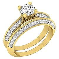 1.15カラットCTW14Kゴールドラウンドホワイトダイヤモンドレディース婚約リングwith Matchingバンドセット