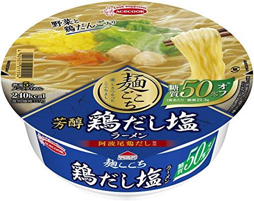 エースコック 麺ごこち 糖質50%オフ 芳醇鶏だし塩ラーメン 83g×12個