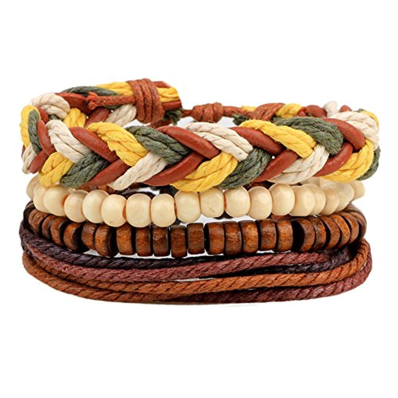 comfybuy 4pcsハンドメイドレザー編みロープの木製ビーズCuffラップブレスレットメンズレディースボヘミアンボーホー