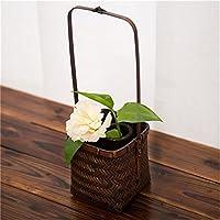 gannbarou 収納バスケット 籐風かご 和風収納 小物入れ 花かご 持ち手付き 手編み 天然素材 業務用 園芸花鉢 復古風