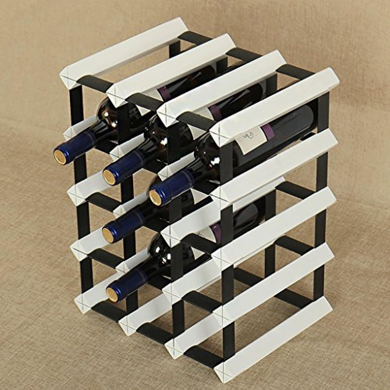 ワインラック ソリッドウッド+スチールフレームデスクトップワインレッド/ウッドカラー/エレガントホワイト強力なベアリング能力はワインの15ボトルを入れることができます赤ワインクリエイティブウッドディスプレイスタンド (色 : エレガントホワイト)
