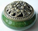 【Rurumiマーケット】陶磁器 香炉 青磁 丸香炉 お香立て 渦巻き線香 などに 香立て付き (緑)
