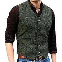 Surprise S Men's Suit Vest V Neck Wool Herringbone Tweed Casual Waistcoat Formal Business Vest
