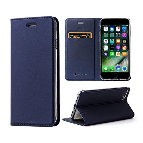 【改善版】 iPhone8 ケース / iPhone7ケース 手帳型 薄型 カード収納 耐衝撃 アイフォン8/7 カバー ブルー