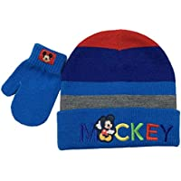 Disney Mickey Mouse Winter Hat and Glove Set, Boys Ages 1-4 Multicolor