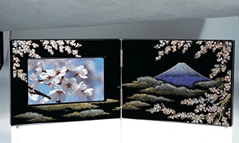 蒔絵デジタルフォトフレーム 屏風型 富士に桜 紀州漆器