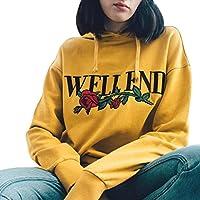 Misaky Women's Girls' Hoodie Rose Printing Blouse Sweatshirt Jumper Tops