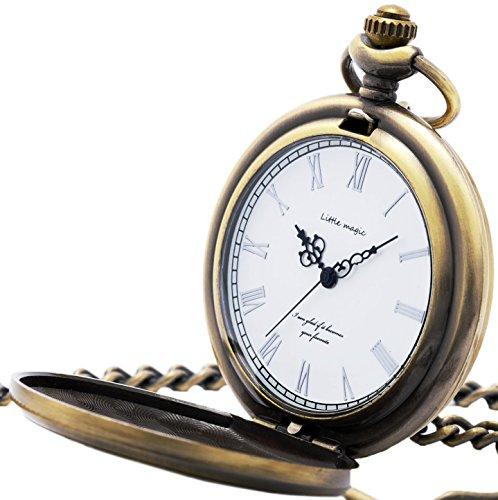 【リトルマジック】GW シンプル 懐中時計 メンズ レディース 【正規品】 チェーン 蓋付き 時計 ローマ数字 ナースウォッチ (アンティークゴールド白文字盤)