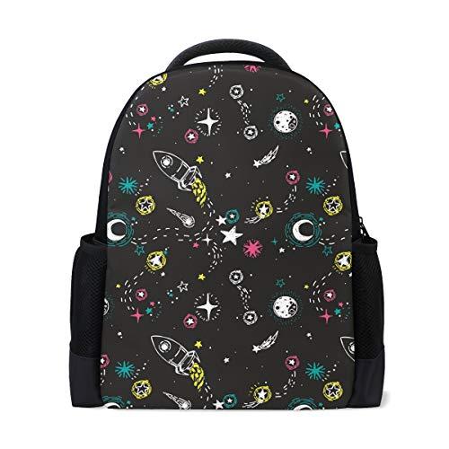970d4be870e2 KaariDream リュックサック 高校生 中学生 大容量 宇宙 宇宙柄 星 星柄 黒 ブラック おもしろ 可愛い リュック 大人 おしゃれ  レディース メンズ 旅行 バックパック ...