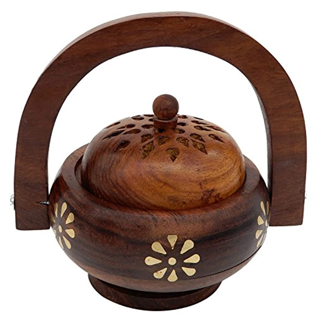 コークス分類するアセンブリWomens Day Special Gift,Wooden Incense Burner, Charcoal Burner with Handle With Brass Inlay