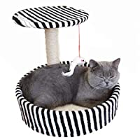 玩具付き猫の木、ひもがちりばめられた柱、強い引っかき抵抗力のある猫クライミングフレーム、猫掻き取り板/猫用トイレ砂/猫用品、四季用跳躍プラットフォーム Black M